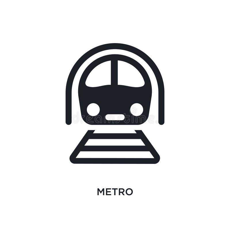 zwart metro geïsoleerd vectorpictogram eenvoudige elementenillustratie van de vectorpictogrammen van het vervoersconcept metro ed stock illustratie