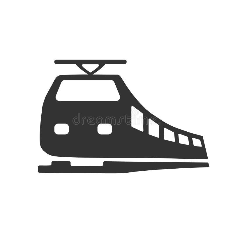 Zwart modern die treinembleem op witte achtergrond wordt geïsoleerd Ontwerpelementen voor embleem, etiket, teken Vector illustrat vector illustratie