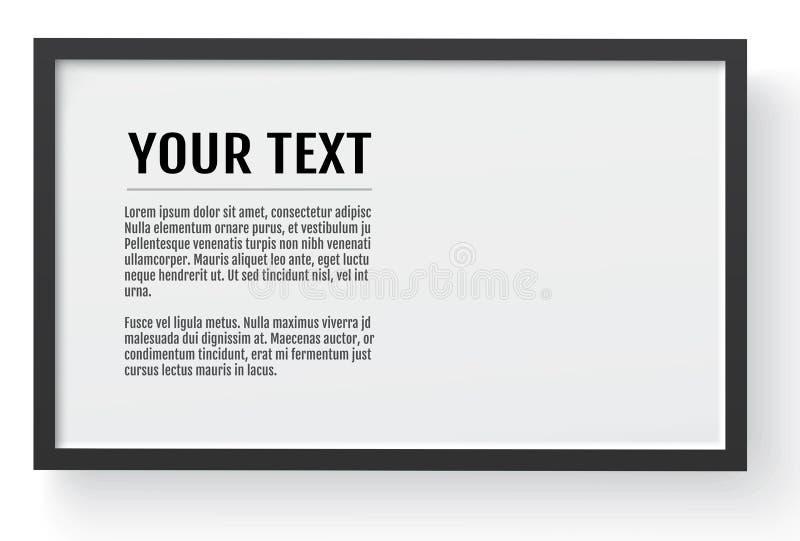 Zwart modern kader, horizontaal model Plaats voor tekst, foto, gift of anderen Vector illustratie royalty-vrije illustratie