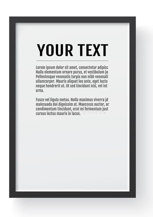 Zwart modern kader, verticaal model Plaats voor tekst, foto, gift of anderen Vector illustratie royalty-vrije illustratie
