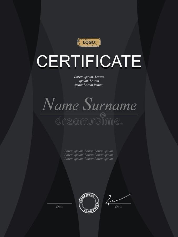 Zwart modieus certificaat Malplaatje voor diploma Strikte modernis royalty-vrije illustratie
