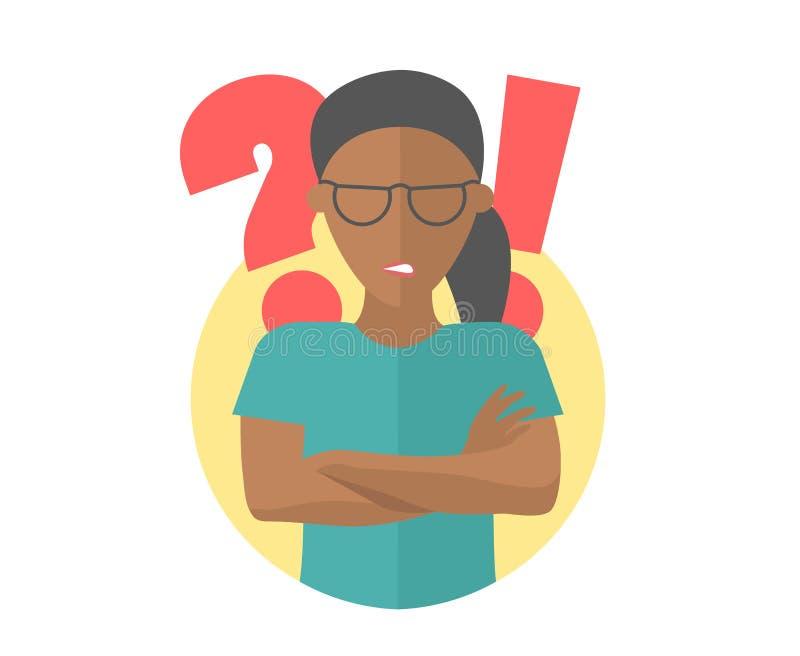 Zwart mooi meisje in beledigde glazen boze twijfels, Vlak ontwerppictogram Vrouw met een vraag en uitroeptekens Eenvoudig editabl royalty-vrije illustratie