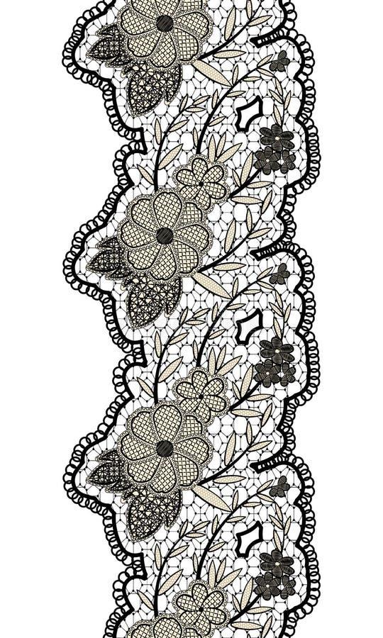 Zwart naadloos kanten verticaal lint op witte achtergrond Bloemen naadloze grens voor ontwerp stock illustratie