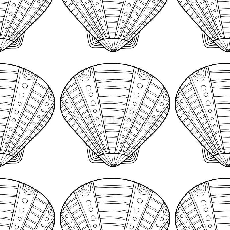 Zwart naadloos patroon met decoratieve overzeese shells voor het kleuren royalty-vrije illustratie