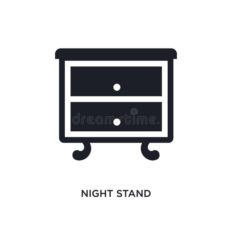 zwart nachttribune geïsoleerd vectorpictogram eenvoudige elementenillustratie van meubilair & huishoudenconcepten vectorpictogram stock illustratie