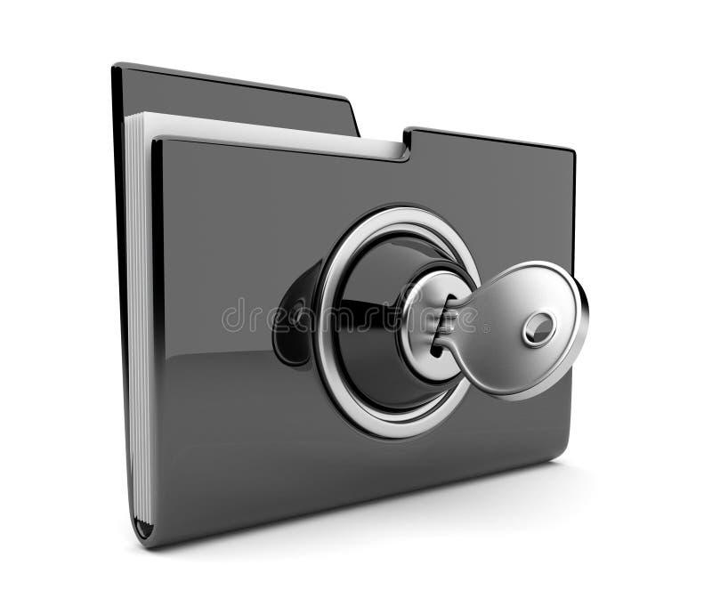 Zwart omslag en slot. De veiligheidsconcept van gegevens. 3D stock illustratie