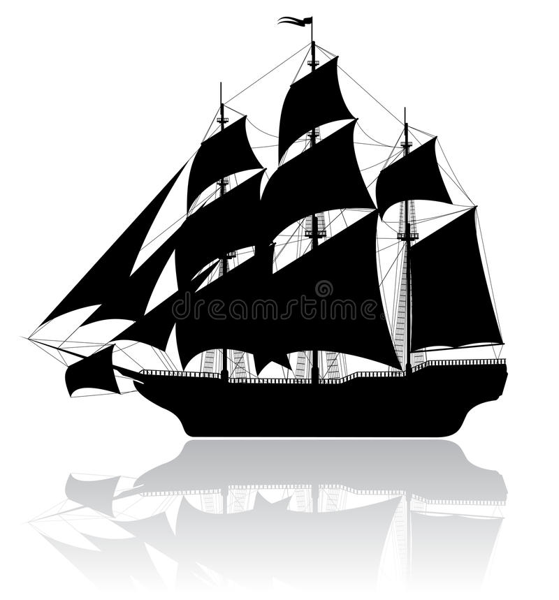 Zwart oud schip royalty-vrije illustratie