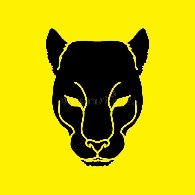 Zwart panterhoofd stock illustratie