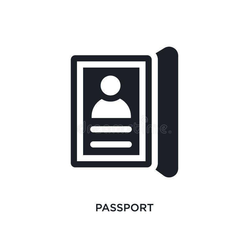 zwart paspoort geïsoleerd vectorpictogram eenvoudige elementenillustratie van de vectorpictogrammen van het hotelconcept symbool  royalty-vrije illustratie