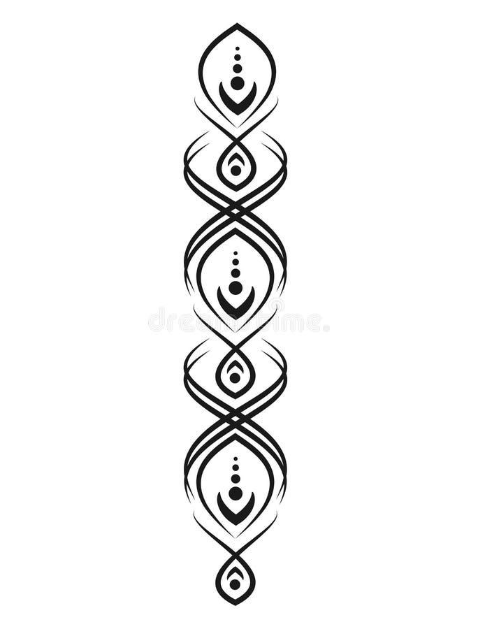Zwart patroon voor tatoegeringen of mehendi Elementen voor ontwerp en decoratie royalty-vrije illustratie