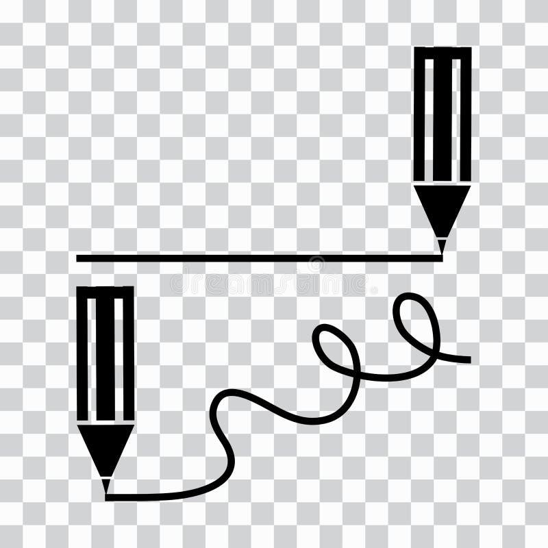 Zwart pen of potlood of tellers minimaal pictogram De potloden trekt en buigt rechtstreeks lijnen Vector illustratie royalty-vrije illustratie