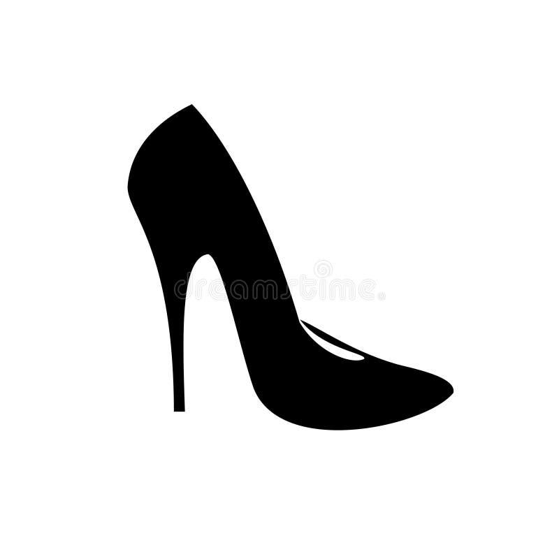 Zwart pictogram van de modieuze schoenen van de vrouwen` s hoge hiel stock illustratie