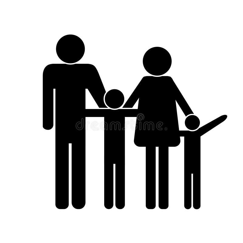 Zwart pictogram van een familie witte achtergrond stock illustratie
