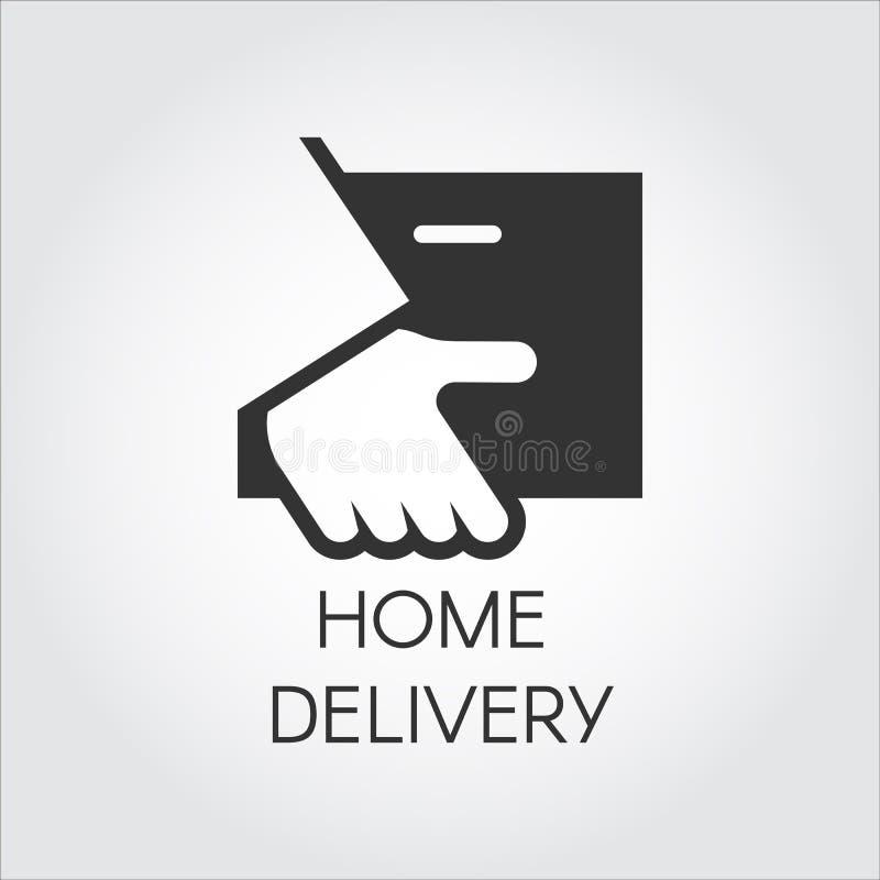 Zwart pictogram van het pakket van de handholding in vlakke stijl Thuisbezorging, snel en het geschikte embleem van het de dienst stock illustratie