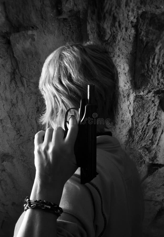 Zwart pistool royalty-vrije stock afbeeldingen
