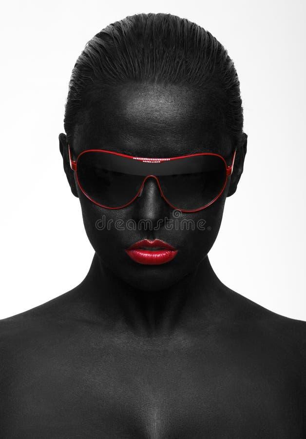 Zwart portret stock afbeelding