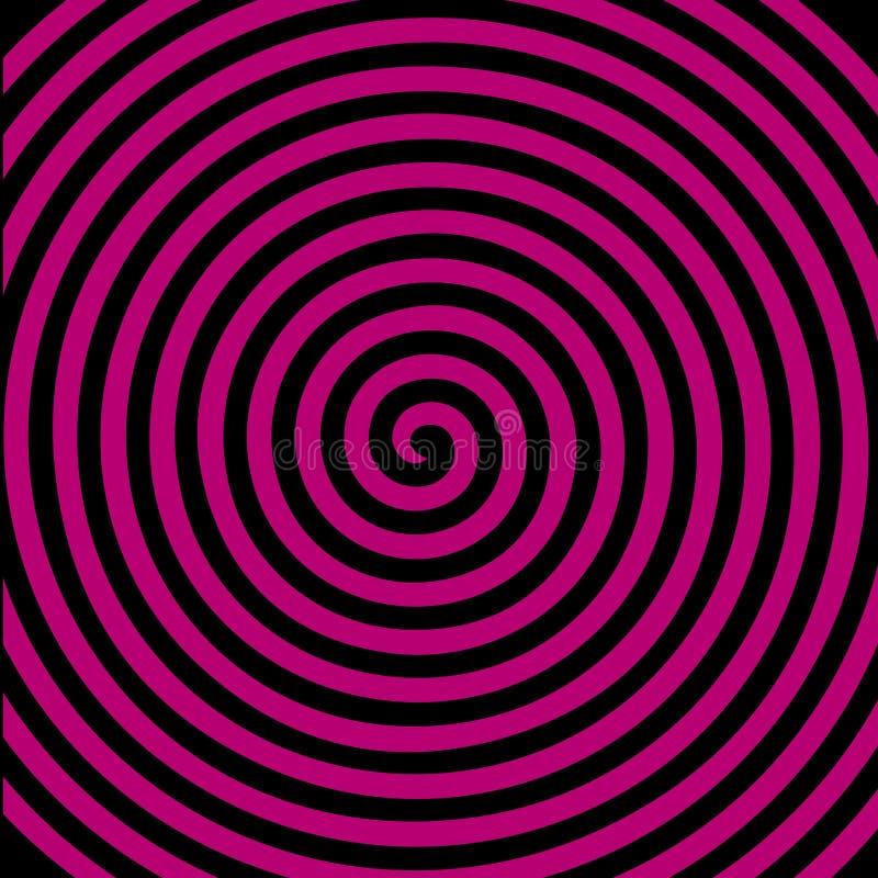 Zwart purper rond abstract draaikolk hypnotic spiraalvormig behang royalty-vrije illustratie