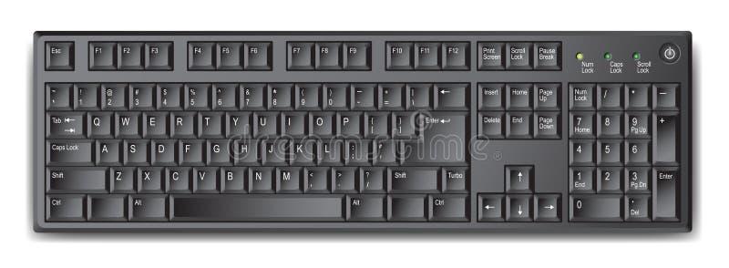 Zwart qwertytoetsenbord met de Engelse lay-out van de V.S. - voorraadvector royalty-vrije illustratie