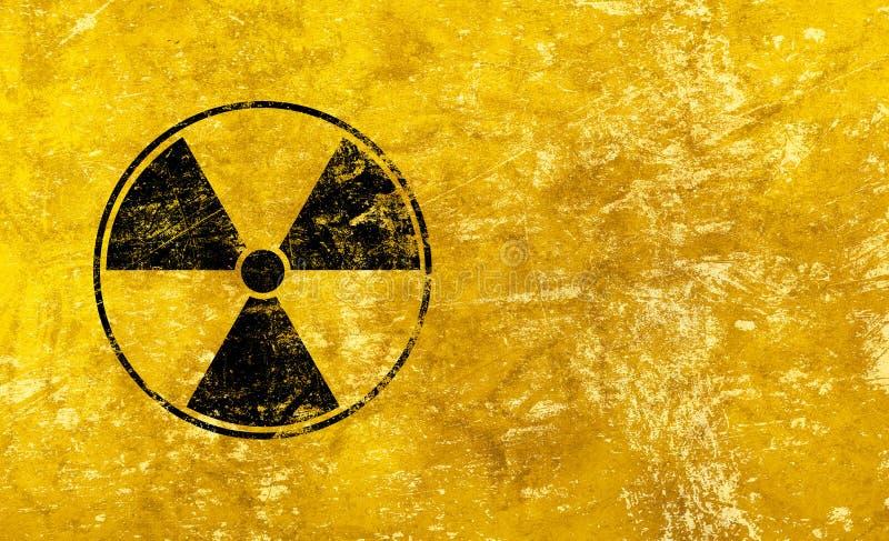 Zwart radioactief teken over gele achtergrond stock foto's