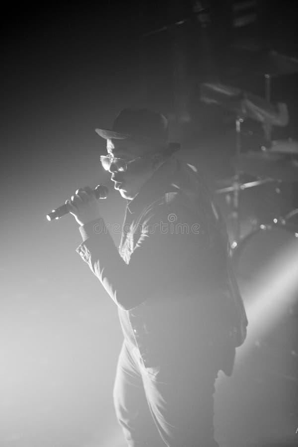 Zwart rapper silhouet royalty-vrije stock afbeelding