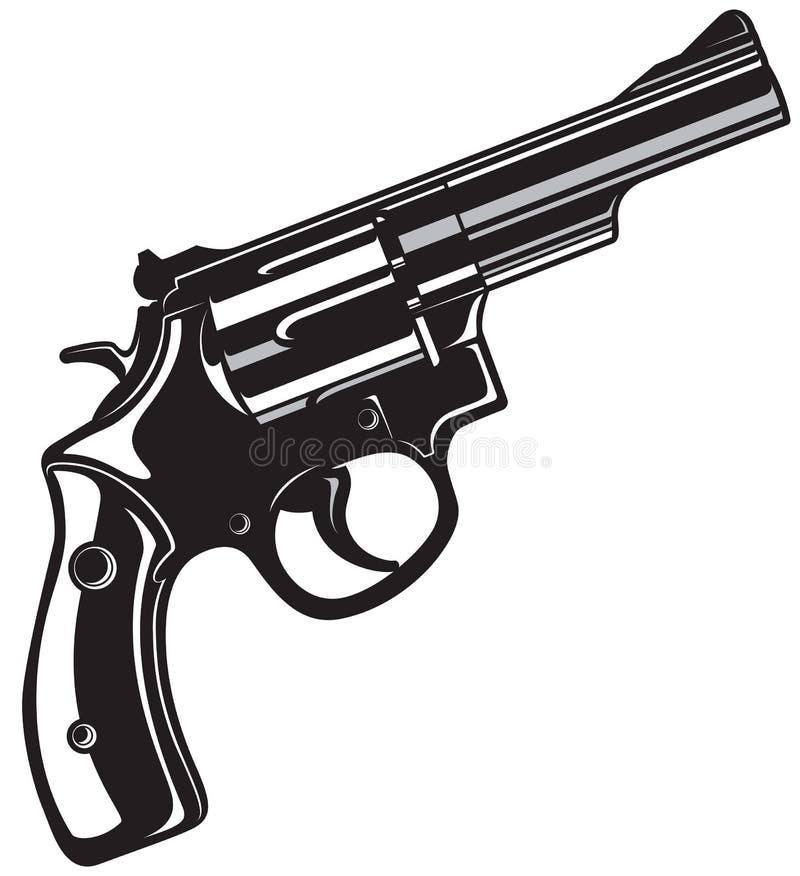 zwart revolverkanon stock illustratie