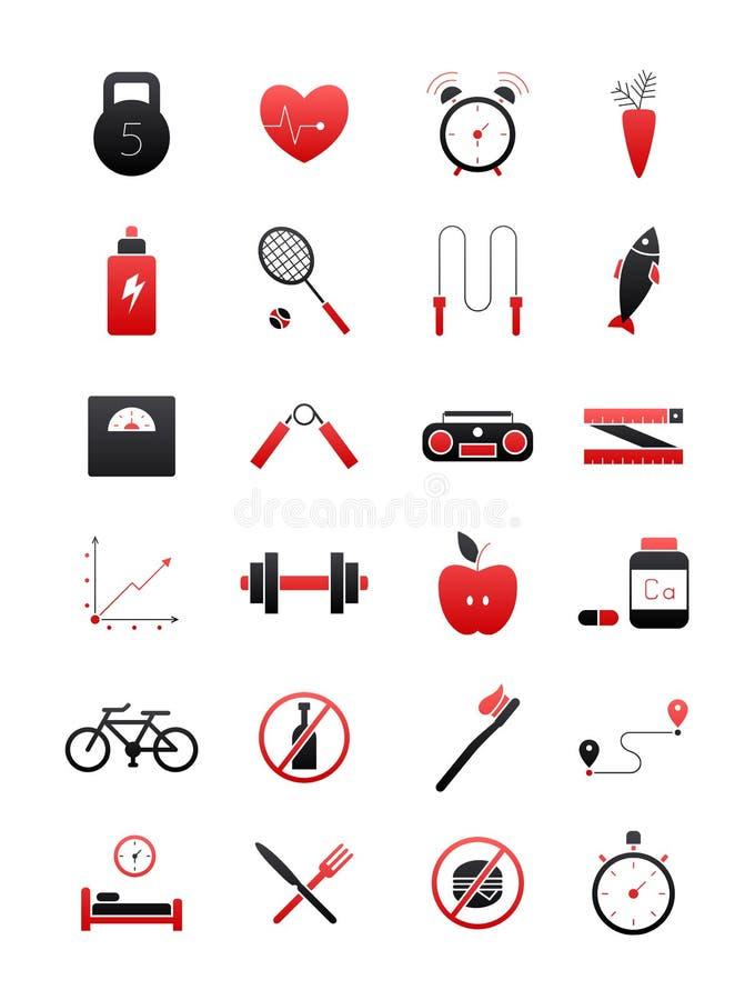 Zwart-rode gezonde geplaatste levensstijlpictogrammen stock illustratie