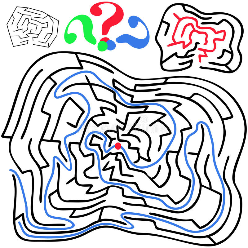 Zwart rond en misvormd labyrint vector illustratie