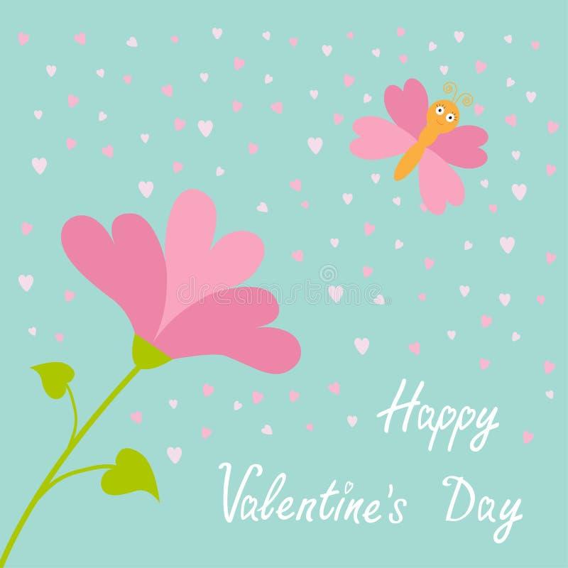 Zwart, roze en groen De Vliegende vlinder van de hartbloem De gelukkige kaart van de valentijnskaartendag Vlak Ontwerp Blauwe hem royalty-vrije illustratie
