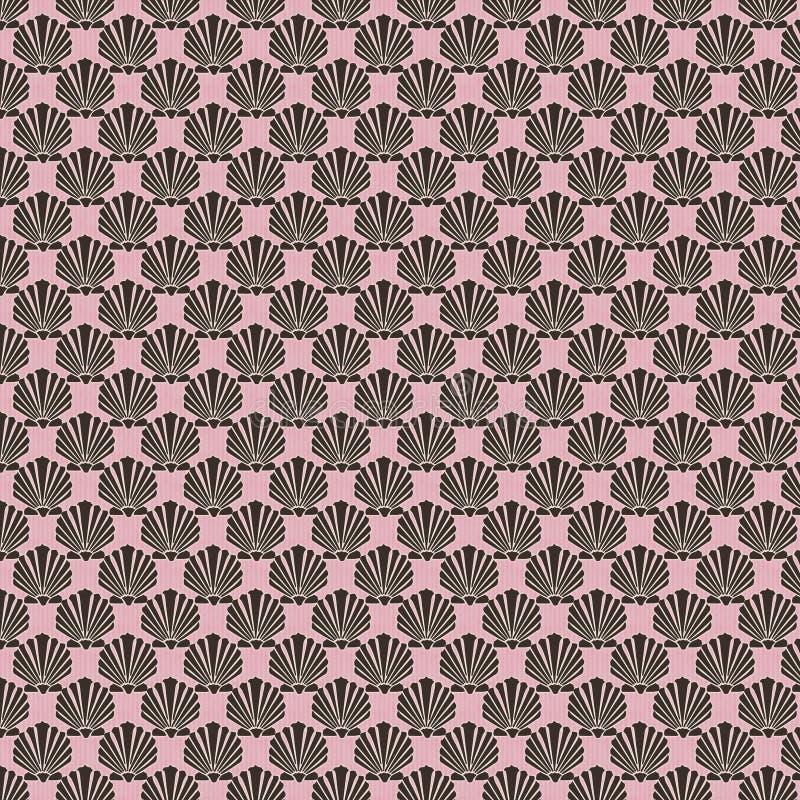 Zwart roze shell ontwerp herhaalbaar patroon vector illustratie