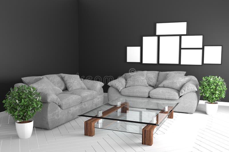Zwart ruimtebinnenland - modern tropisch stijlconcept met zwarte bank en installaties in witte vloer op zwarte muurgrond het 3d t stock illustratie