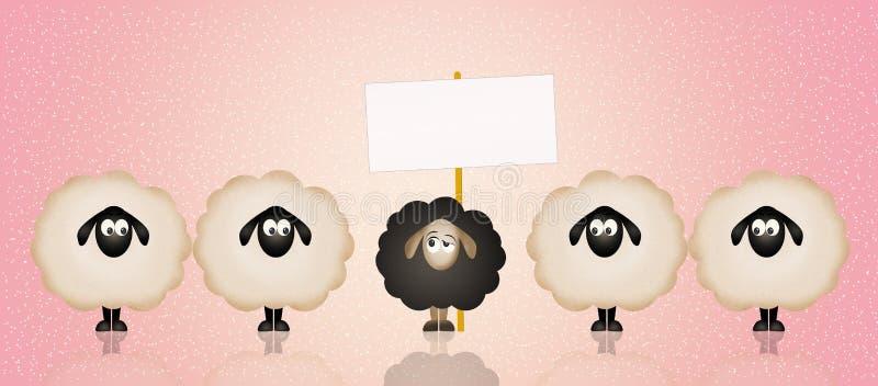 Zwart schapen stock illustratie