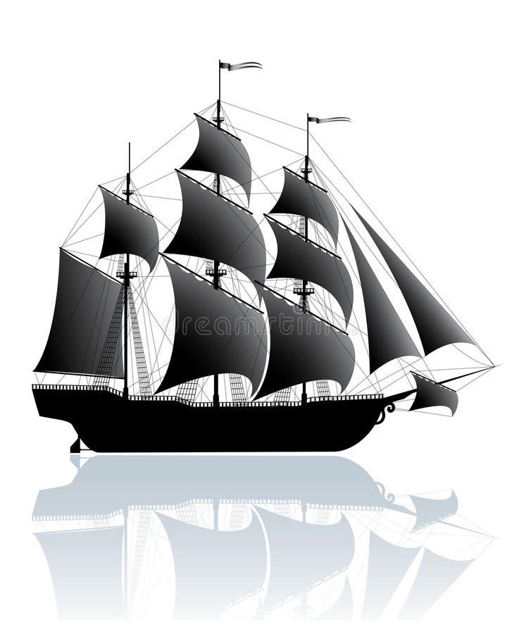 Zwart schip stock illustratie