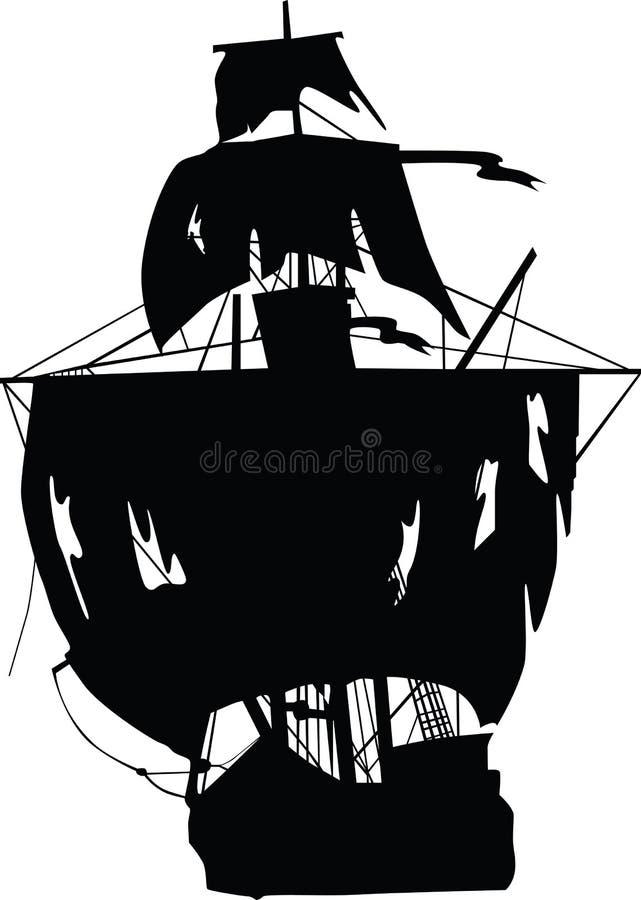 Zwart schip van piraten