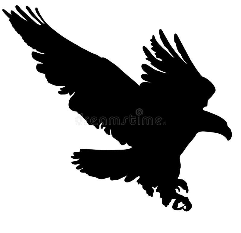 Zwart Silhouet die Gouden Eagle vliegen vector illustratie