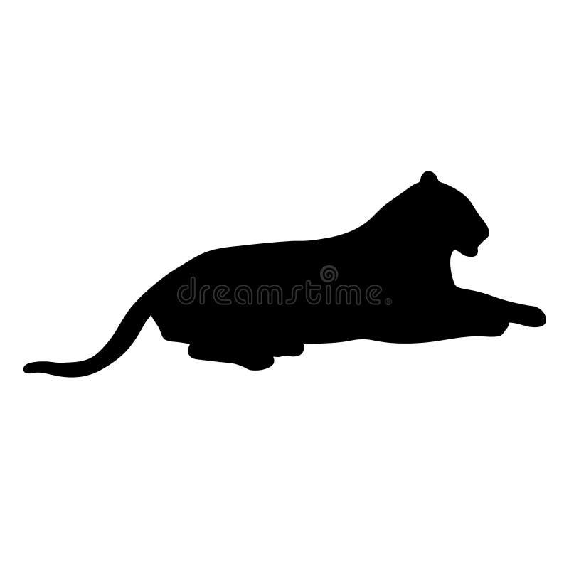Zwart silhouet die van tijger op witte achtergrond van vectoril liggen stock illustratie