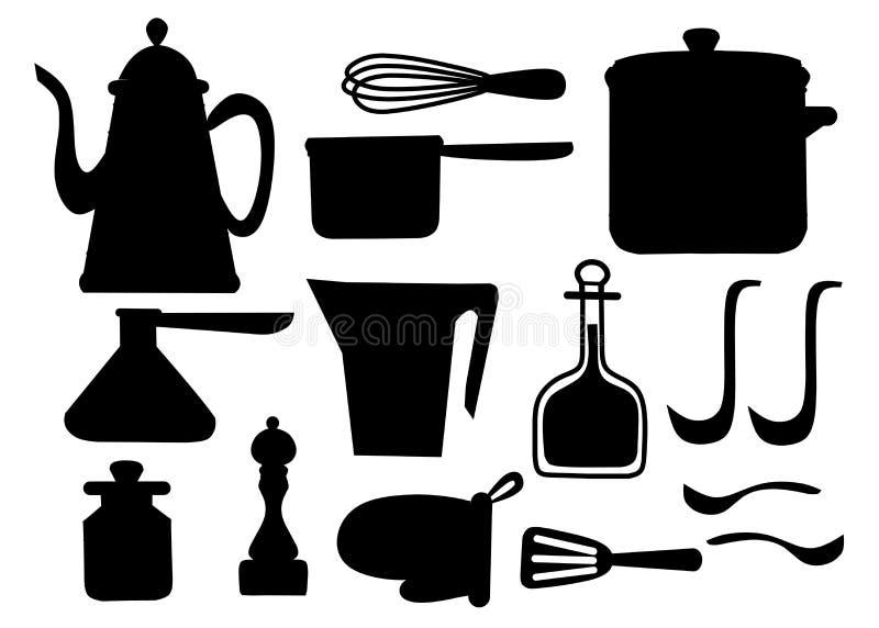 Zwart silhouet Geplaatst keukengerei Keukengerei, cookware, keukengereedschapinzameling De moderne pictogrammen van het keukenwer stock illustratie