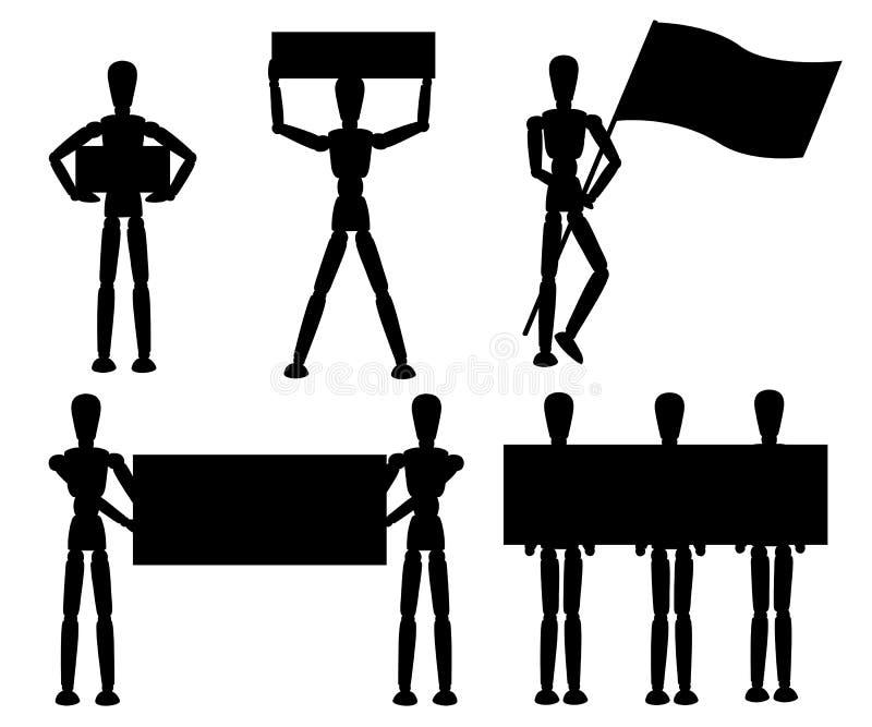 Zwart silhouet Houten ledenpopinzameling Het model met verschillend stelt Beeldverhaal vlakke stijl Vector ge?soleerde illustrati royalty-vrije illustratie