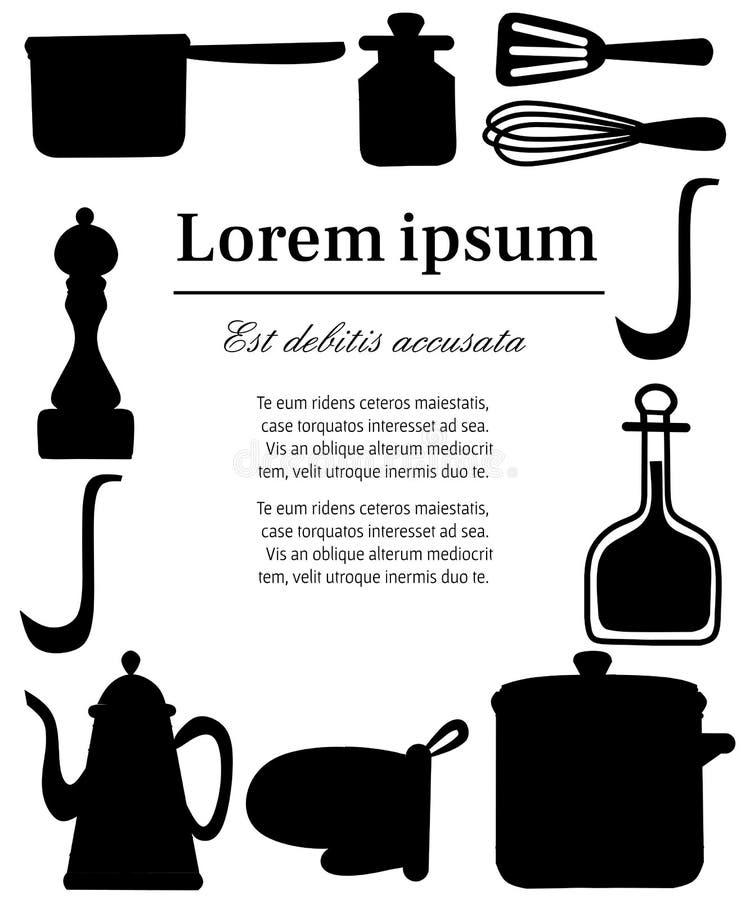 Zwart silhouet Keukengerei, cookware, keukengereedschapinzameling De pictogrammen van het keukenwerktuig in Arabische stijl Vlakk stock illustratie
