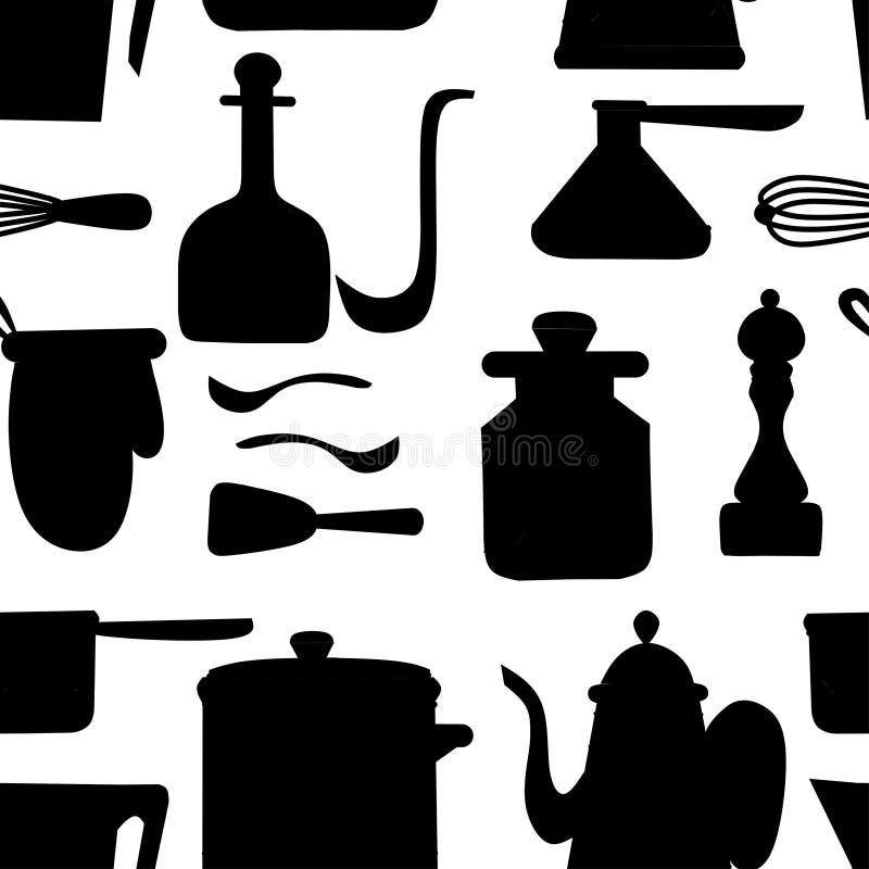 Zwart silhouet Naadloos patroon Geplaatst keukengerei Keukengerei, cookware, keukengereedschapinzameling Het moderne Werktuig van vector illustratie
