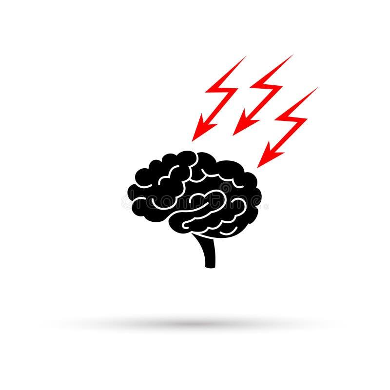 Zwart silhouet van beklemtoonde uit hersenen met blikseminslag royalty-vrije illustratie