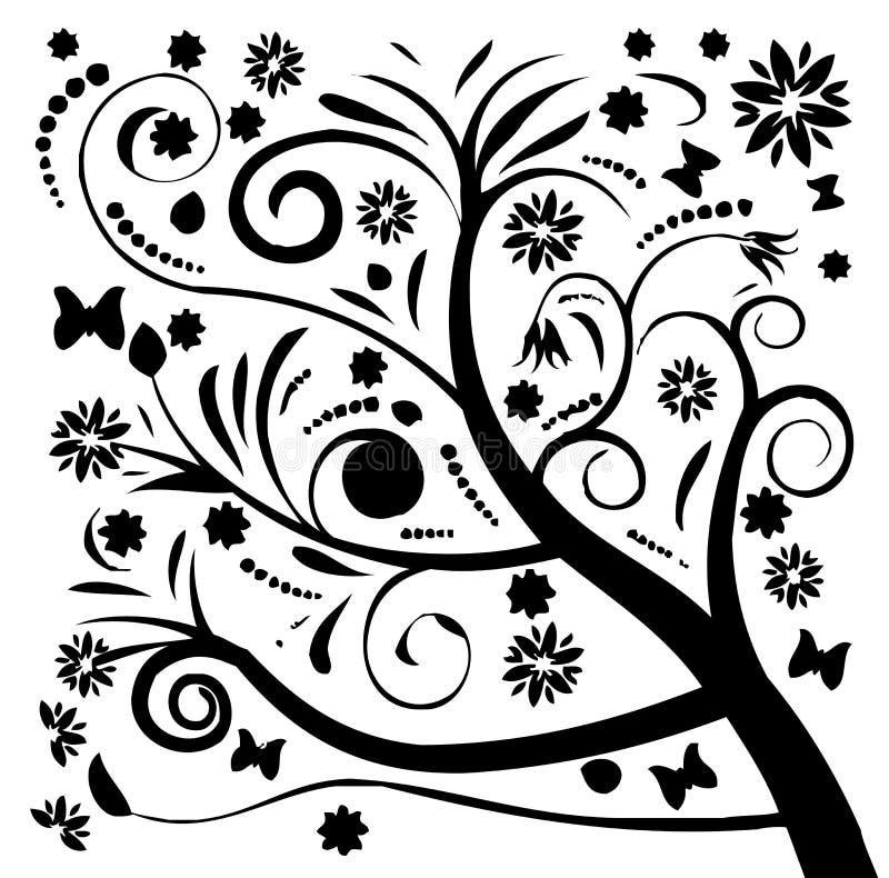 Zwart silhouet van boom en bloem royalty-vrije illustratie