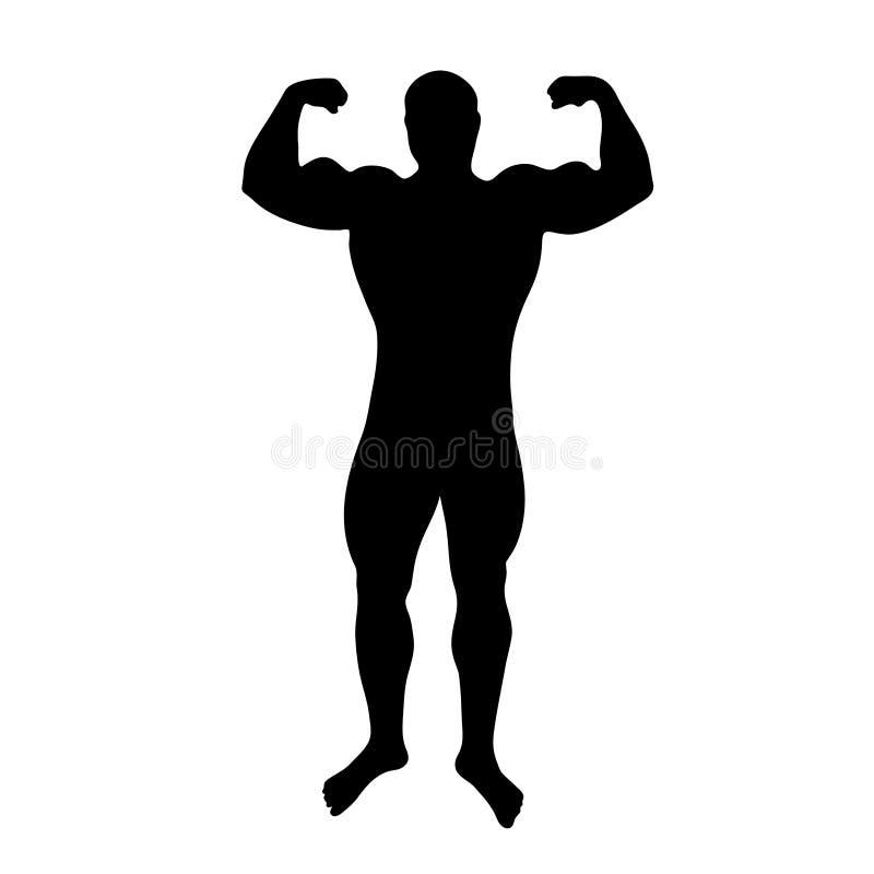Zwart silhouet van de bodybuilder van de cijfermens op witte illustratie als achtergrond stock illustratie