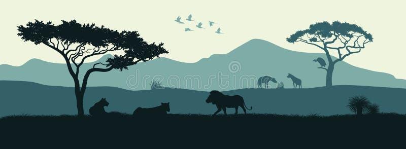 Zwart silhouet van dieren van Afrikaanse savanne royalty-vrije illustratie