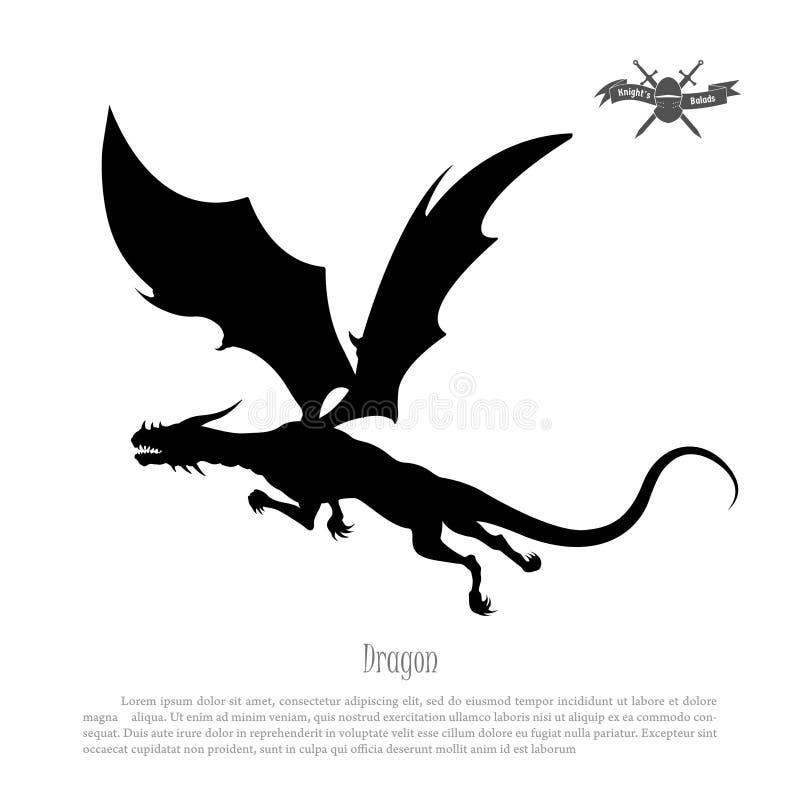 Zwart silhouet van draak op witte achtergrond Het monster van de fantasie royalty-vrije illustratie