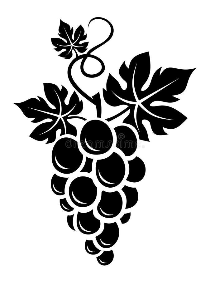 Zwart silhouet van druiven. royalty-vrije illustratie