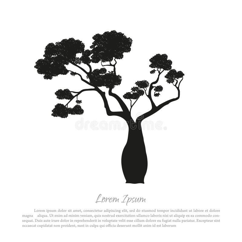 Zwart silhouet van een baobab op een witte achtergrond Australische aard De woestijn van Judean royalty-vrije illustratie