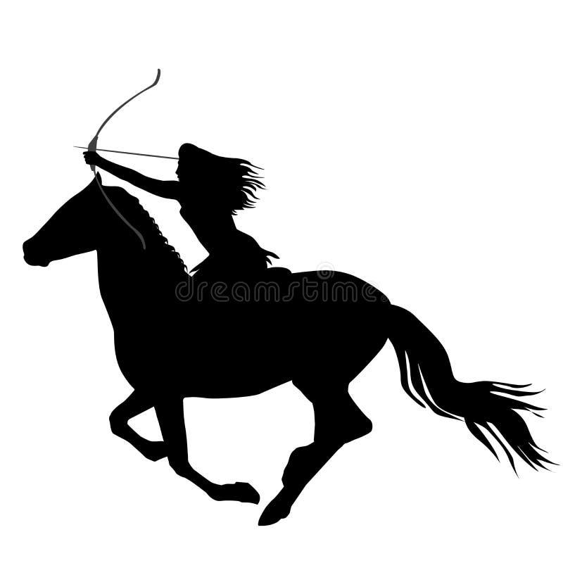 Zwart silhouet van een de strijdersvrouw die van Amazonië een paard berijden royalty-vrije illustratie