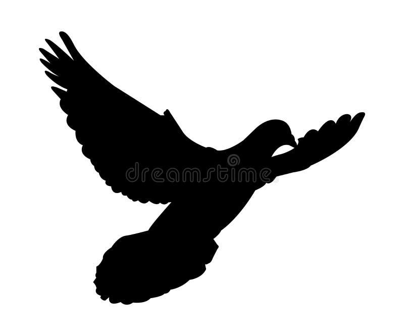 Zwart silhouet van een duif die op witte achtergrond vliegt stock illustratie