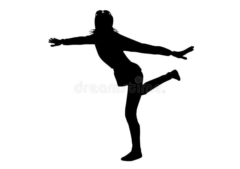 Zwart silhouet van een jonge blije ?girl on? een witte achtergrond met glazen, die zich op één been bevindt royalty-vrije stock foto's