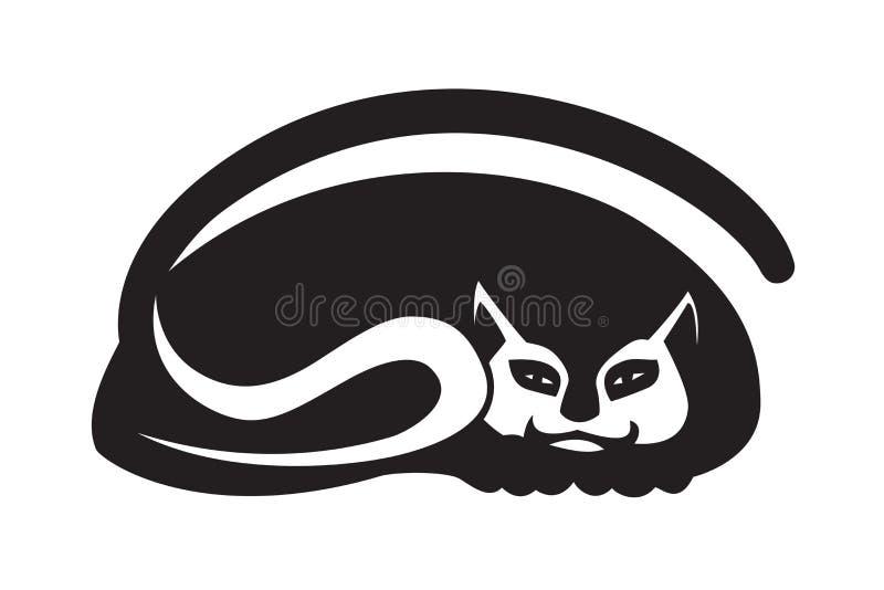 Zwart silhouet van een kat op witte achtergrond Gestileerd creatief decoratief beeld royalty-vrije illustratie